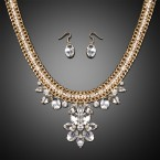 Pointed Flower Rhinestone Necklace and Earrings