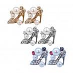 Rhinestone High Heel Stud Earrings