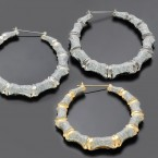 Bamboo Metal Casting Hoop Earrings