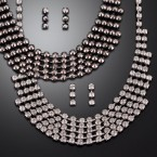 Multi-Line Rhinestone Necklace & Earrings