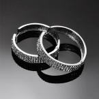 Three Tier Diamante Hoop Earrings - Large