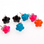 Colorful 8mm Flower Stud Earrings