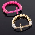 Cross Charm Stretch Bracelet