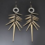 Rhinestone Ring & Spike Earrings-Rough Gold Tone
