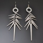 Rhinestone Ring & Spike Earrings-Silver Tone