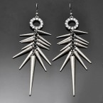 Rhinestone Ring & Spike Earrings-Rough Silver Tone