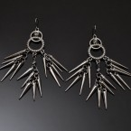 Rope Ring & Spike Earrings-Metal Tone