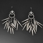 Rope Ring & Spike Earrings-Rough Silver Tone