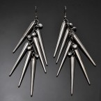 Rhinestone & Long Spike Earrings-Metal Tone