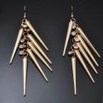 Rhinestone & Long Spike Earrings-Gold Tone