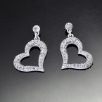 Dazzling Heart Earrings-White