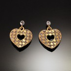 Dangling Heart Lozenge Earrings-Gold Tone