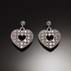 Dangling Heart Lozenge Earrings-Silver Tone