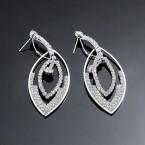 Double Oval Rhinestone Dangle Earrings