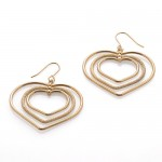 Triple Heart Line Dangle Earrings