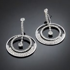 Double Circle Rhinestone Dangle Earrings