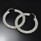 Flat 3Line Rainbow Rhinestone Hoop Earrings