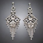 Square Chandelier Rhinestone Earrings
