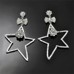 Dangling Bow with Big Star Rhinestone Earrings