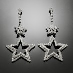 Hanging Stars Rhinestone Earrings