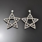 Hanging Rhinestone Star Earrings