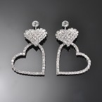Dangling Heart Rhinestone Earrings