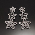Stepping Floral Star Rhinestone Earrings