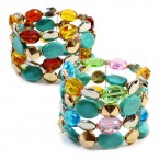 Flat Etched Faux Turquoise Beads Stretch Bracelet