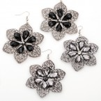 Floral Filigree Dangle Earrings