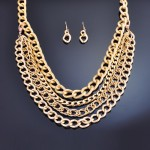 Multi-Function Long Chain Link Necklace and Earrings