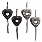 Heart Charm Mesh Chain Dangle Earrings