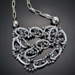 Interlock link Beads & Steel Necklace-Silver Tone