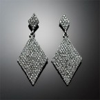 Dangling Lozenge Rhinestone Earrings
