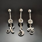 316-L Surgical Steel Belly Ring with Crystal Initial - Choose Your Letter!
