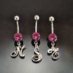 316-L Surgical Steel Belly Ring with Pink Crystal Initial - Choose Your Letter!