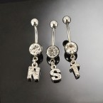 316-L Surgical Steel Belly Ring with Rhinestone Initial - Choose Your Letter!