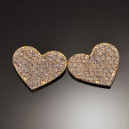 Big Flat Heart Rhinestone Earrings-Gold Tone