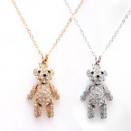 Jointed Teddy Bear Rhinestone Necklace