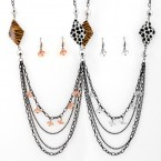 Layered Animal Print Necklace and Earrings
