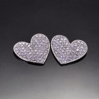 Flat Heart Rhinestone Earrings-Silver Tone