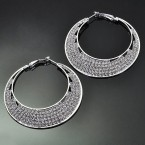 5-Line Rhinestone Circular Earrings