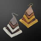 Wood and Hammered Metal Earrings