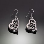 Dangling Tangled Heart Earrings-Silver Tone