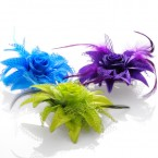 Pointed Flower and Feather Hair Holder and Brooch