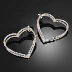 Rhinestone Double Heart Earrings