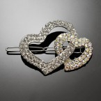 Double Heart Rhinestone Hairpin