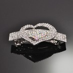 Two Hearts on the 5Line Rhinestone Auto Hair Clip