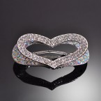 Heart Rainbow & Clear Rhinestone Hair Clip