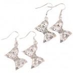 Pretty Silver Filigree Bow Earrings