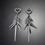 Rhinestone Heart & Spike Earrings-Rough Silver Tone